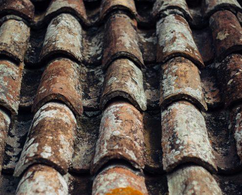ett gammalt tak i behov av yttertakfärg